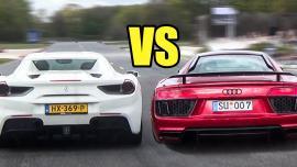 Ferrari 488 Spider vs Audi R8 V10 Plus [Drag race Vid]